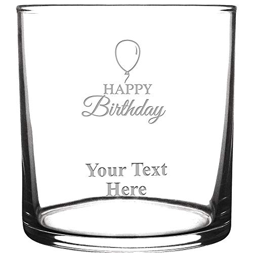 Personalized Drink Glasses, Happy Birthday Engraved Cocktail Glass With Custom Text Great Customizable Birthday Gift Prime (Glasses Custom Drink)