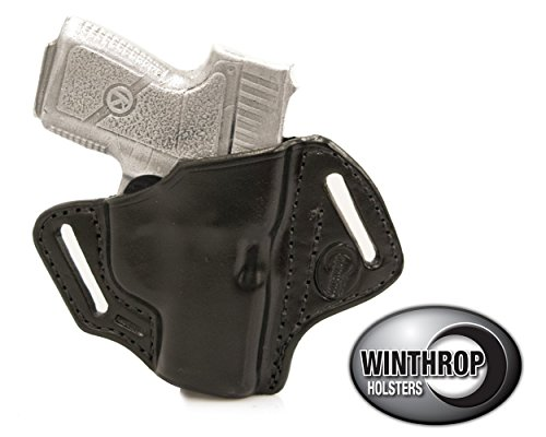 Winthrop Holsters OWB Pancake Black Leather Holster (Kahr CM9/PM9/MK9#0008)