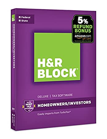 H&R Block Tax Software Deluxe + State 2017 + 5% Refund Bonus Offer