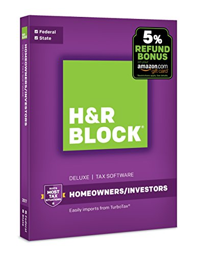 : H&R Block Tax Software Deluxe + State 2017 with 5% Refund Bonus Offer