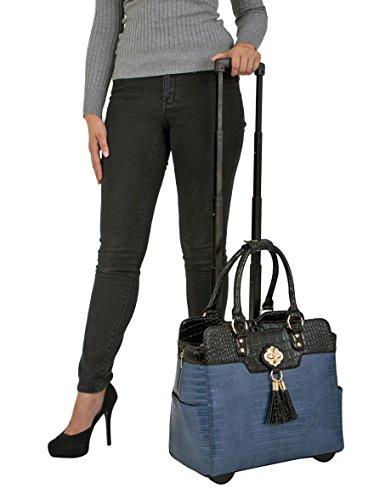 """True Blue"" & Black Alligator Faux Leather Computer iPad, Laptop Tablet Rolling Tote Bag Briefcase Carryall Bag"