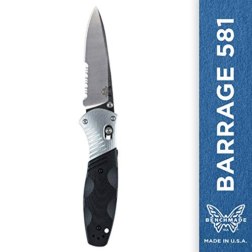 Part Serrated Drop Point - Benchmade - Barrage 581 Knife, Drop-Point Blade, Serrated Edge, Satin Finish, G10 and Aluminum Handle