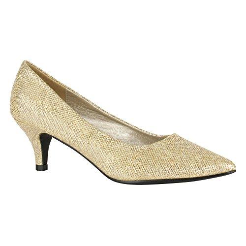 Spitze Damen Pumps High Heels Stilettos Klassische Abendschuhe Veloursleder-Optik Schuhe Schnallen Kroko Prints Flandell Gold Glitzer