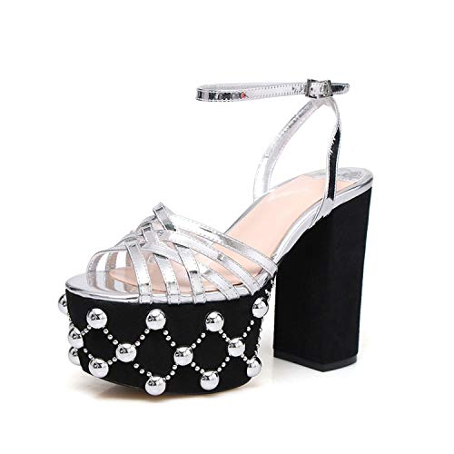 Lonely Store Woman High Heels Sandals Summer Rivets Shoes Women Round Toe Spike High Heels Metal Platform ()