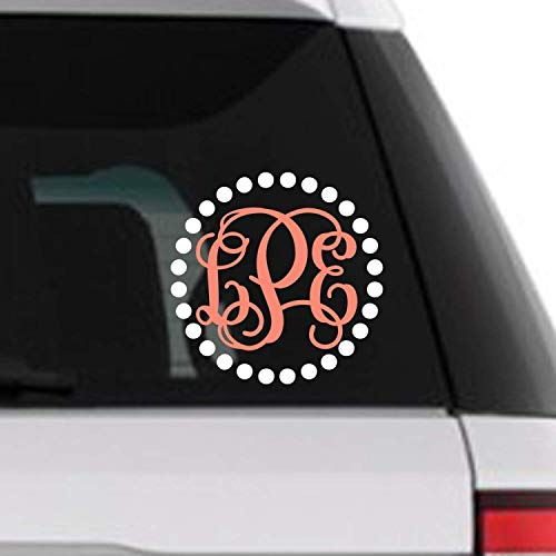 (Custom Dotted Circle Vine Monogram Initial Decal for Yeti Tumblers Laptops MacBooks Car Windows Etc)