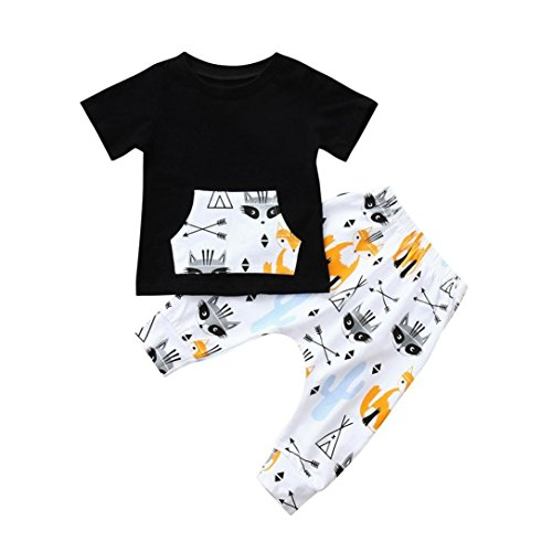 GoodLock Clearance!! Baby Boys Fashion Clothes Set Toddler Short Sleeve Fox Print T-Shirt Top Pants Outfits 2Pcs (Gray, 6 Months)