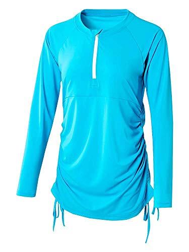(Fomini Women's Rashguard UV Sun Protection Long Sleeve Deep V Neck Front Zip Wetsuit Swimsuit Top Blue)