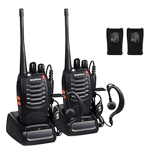 Walkie Talkie BF-888S, Sunreal Rechargeable Long Range Two Way Radio Built in LED Torch Microphone for Adults (pack of 2)