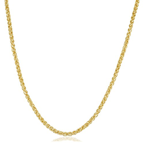 Kooljewelry 14k Yellow Gold Filled Round Wheat Chain Necklace (2.5 mm, 22 inch) ()