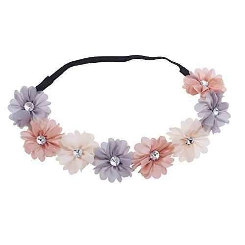 Lux Accessories Multicolor Chiffon Rhinestone Flower Crown Headband Headwrap