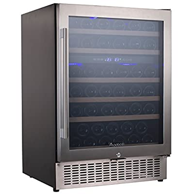 Aobosi Wine Cooler Refrigerator with 51 Bottles Dual Zones,Classy Look, Stainless Steel & Reversible Glass Door,and LED Display   Thermostatic Wine Refrigerator for Red and White Wine, Champagne,Beve