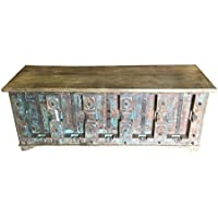 Vintage Trunk Blue Distressed Old door Chai Table Rustic Bench Chest Urban Farmhouse Interior