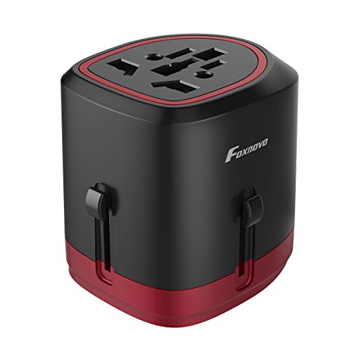 Universal Travel Adapter, Foxnovo International Power Adapter AC Plug All in one Worldwide Wall Charger with Dual USB Charging Ports for USA EU UK AUS Cell Phone, with Carrying Case (Red)
