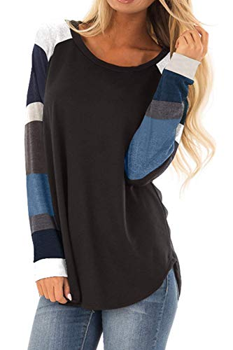 AMCLOS Womens O-Neck Shirts Striped Tops Tunic Blouses Casual Long Sleeve (S, A-Black)