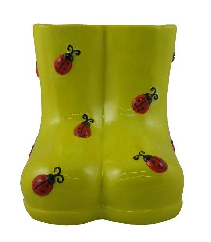 Napco 31387 5-Inch Tall Ceramic Lady Bug Boot Planter (Rain Ceramic Boots)