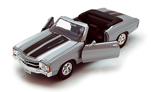 Welly 1971 Chevy Chevelle SS454 Convertible, Silver 22089 - 1/24 Scale Diecast Model Toy Car ()