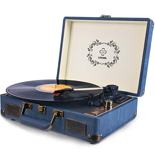(Record Player, LUKER Portable Suitcase Bluetooth Turntable for Vinyl Record, Belt-Drive 3-Speed Stereo Turntable with Speakers, Support Power Bank Supply, RCA Audio Output, 3.5mm AUX/USB/SD Input)