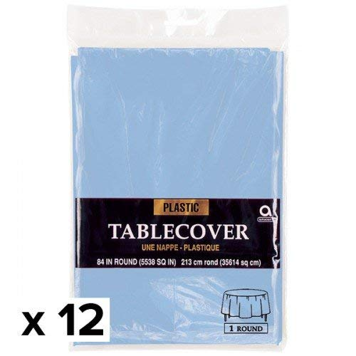 Round Pastel Blue Plastic Table Cover | Party Tableware, 12 Ct.
