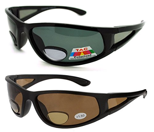 2 Pair of Polarized Bifocal Sunglasses - Outdoor Reading Sunglasses (Black/Brown, 1.5 ()