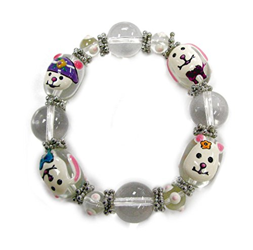 - Linpeng Hand Painted Bunnies Easter Glass Beads Stretch Bracelet, White