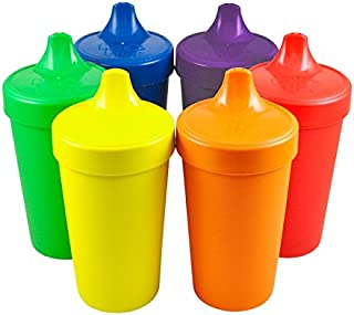 product image for Re-Play Made in the USA, Set of 6 No Spill Sippy Cups - Yellow, Kelly Green, Navy, Amethyst, Red, Orange(Crayon Box)