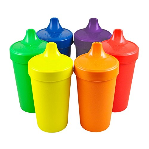 (Re-Play Made in The USA, Set of 6 No Spill Sippy Cups - Yellow, Kelly Green, Navy, Amethyst, Red, Orange(Crayon Box))