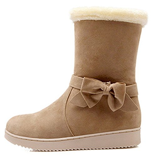 IDIFU Womens Warm Fur Lined Flat Faux Suede Winter Booties Mid Calf Snow Boots With Bow Camel vHlvo
