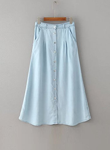 Women's Single line Blue Breasted Achicgirl A High Waist Denim Skirt Maxi pdafZq