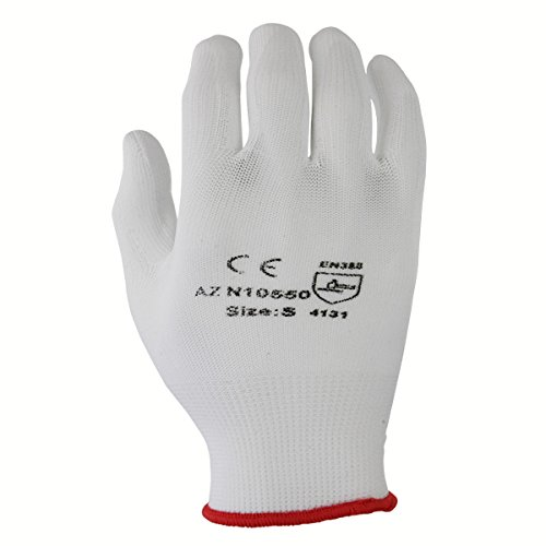 Azusa Safety N10550 13 gauge Nylon Machine Knit Safety Gloves, Polyurethane PU Coated, X-Large, White