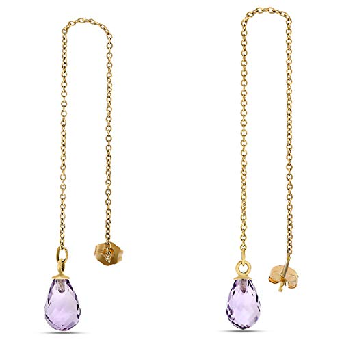 10K Yellow Gold Purple Amethyst Briolette Gemstone Threader Earrings, Birthstone of February