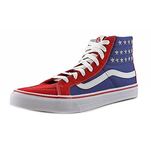 Vans Sk8-hi Scarpe Da Skate Casual Alte Unisex, Comode E Resistenti In Esclusiva Suola In Gomma Waffle (stelle Borchiate) Rosso / Blu