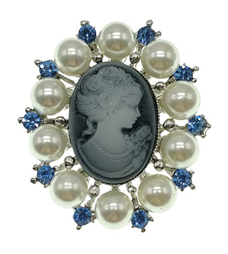 Wedding Brooch pins Women Bouquet Rhinestone bee Rose Flower Butterfly Pearl (ML Vintage Antique Cameo Pearl Blue) ()