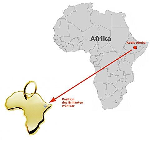 Endroit Exclusif Tanzanie Carte Pendentif avec brillant à votre Désir (Position au choix.)-massif Or jaune de 585or, artisanat Allemande-585de bijoux