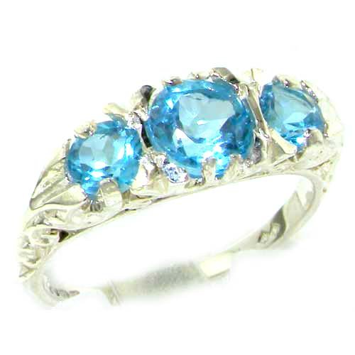 Ladies Solid Sterling Silver Natural Blue Topaz Victorian Trilogy Ring - Size 7.75