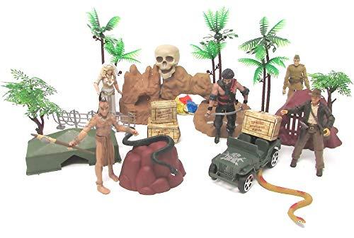 - Indiana Jones 20 Piece Play Set Featuring 5 Random Indiana Jones Character Figures and Themed Accessories