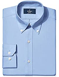 Men's Fitted Button-Collar Solid Non-Iron Dress Shirt...