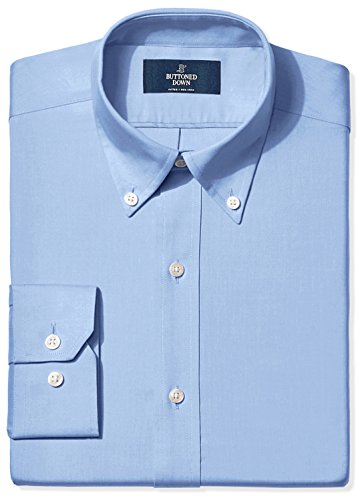 (BUTTONED DOWN Men's Fitted Button-Collar Non-Iron Dress Shirt, Blue, 17