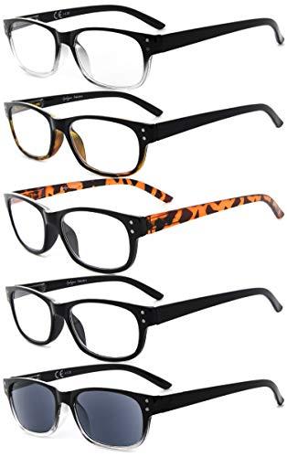 Eyekepper 5-Pack Spring Hinges Vintage Reading Glasses Includes Sunglasses Readers +2.00 (Big Reading Glasses Vintage)