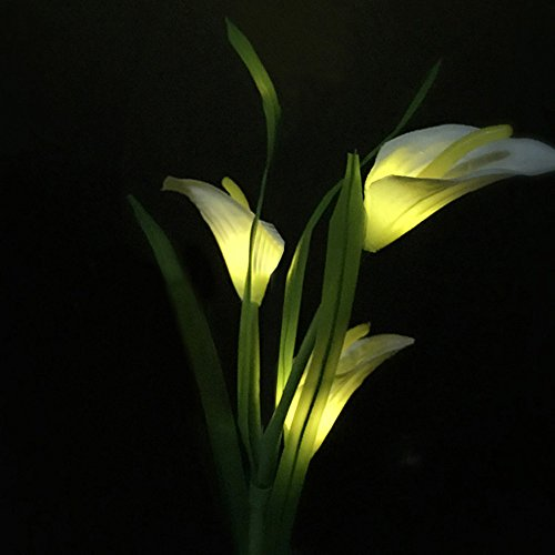 Light Tulip 3 - Yukuai ❥3 Cap Solar Lantern LED Flower Solar Power Lights Outdoor LED Lamps 3 Head Solar Horseshoe Lant Garden Yard Lawn Path Landscape Decoration Illumination
