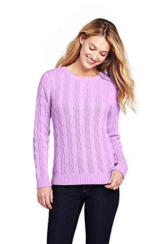 Lands' End Women's Drifter Cotton Cable Knit Sweater Crewneck, L, Pansy