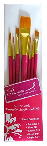 Pennelli Artist's Brushes Gold Taklon (Watercolor, Acrylics, and oils) 7 Piece Assortment (Round 2,4) (Liner 00) (Shader 2, 6) (Wash ¾