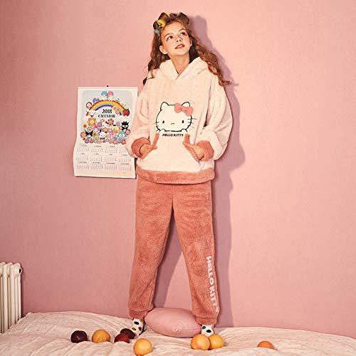 Vellón Noche Camisones Ropa Caricatura De Grueso Invierno Franela Cálido M Dormir Batas Señoras Calidad Mujer Pijamas Capucha Lindo l Conjunto Coral Olliuge Con pqvwOPxFn