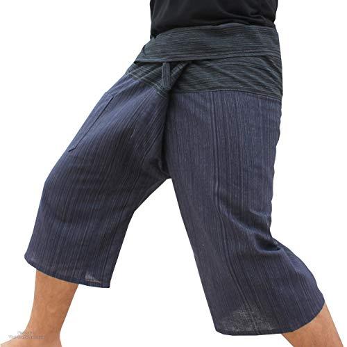 Raan Pah Muang Thin Striped Cotton Two Tone Fisherman Capri Wrap Pants, Small, Black Waist, Dark Blue Legs