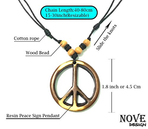 Peace Pendant - Nove Jewelry Leather Peace Sign Necklace - Peace Symbol Necklace - Resin Peace Sign Pendant - Adjustable Black Cord (Brown)