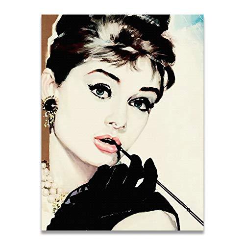 Impresion De La Lona Audrey Hepburn Retratos Famosos Estrellas De Cine Carteles E Impresiones Lienzo Arte Pintura Pared Cuadros Sala De Estar Decoracion del H