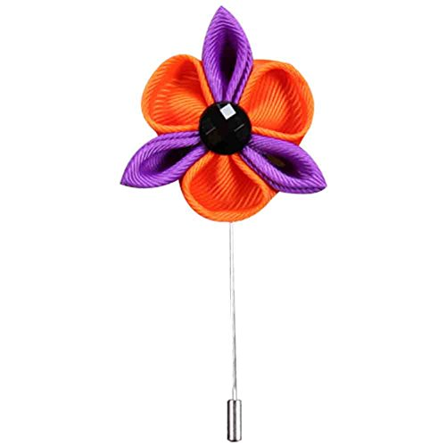 Song Flower Petal Lapel Stick Pin Brooch Wedding Boutonniere Corsage Button Pins 5pcs (Purple + Orange)