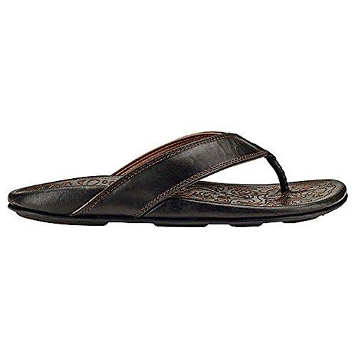 Olukai Waimea - Sandalo Comfort In Pelle Da Uomo Nero / Nero