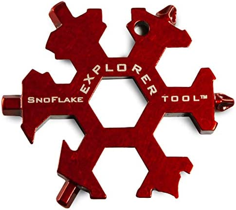 SnoFlake Tools – 19 in 1 EDC Snow Flake Explorer Keychain Multi Tool Includes Wrenches, Screwdrivers, Bottle Opener Box Cutter 420 Tool Grade Stainless Steel with Rust Proof Red Electrocoating