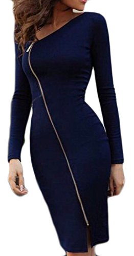 Womens Solid Slit Royal Pencil Zipper Midi Cromoncent Dress Blue Bodycon Oblique UdO7Uq