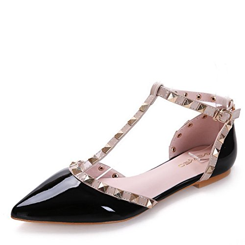 Aalardom Da Donna Fibbia A Punta Senza Tacco Colore Assortito Vernice Morbida Materiale Flats-shoes Black-rivet